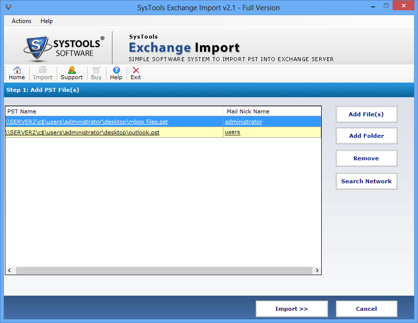Outlook PST import into Exchange mailbox
