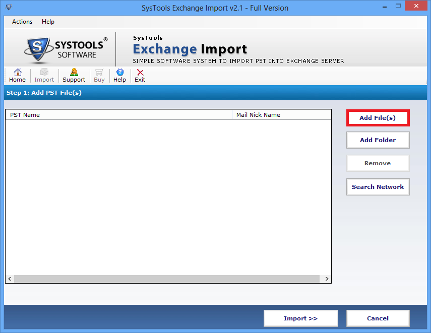 PST import to Exchange Mailbox tool