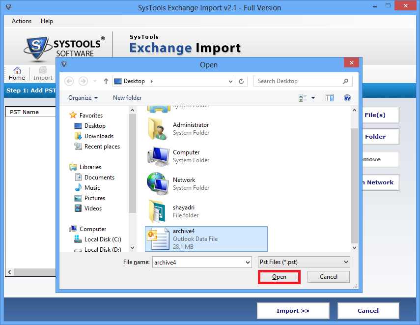 import PST file to Exchange