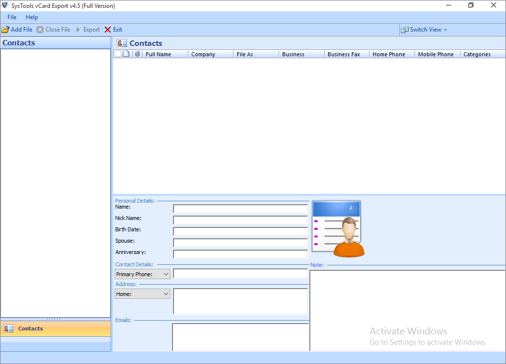 Outlook Contacts Exporter Software