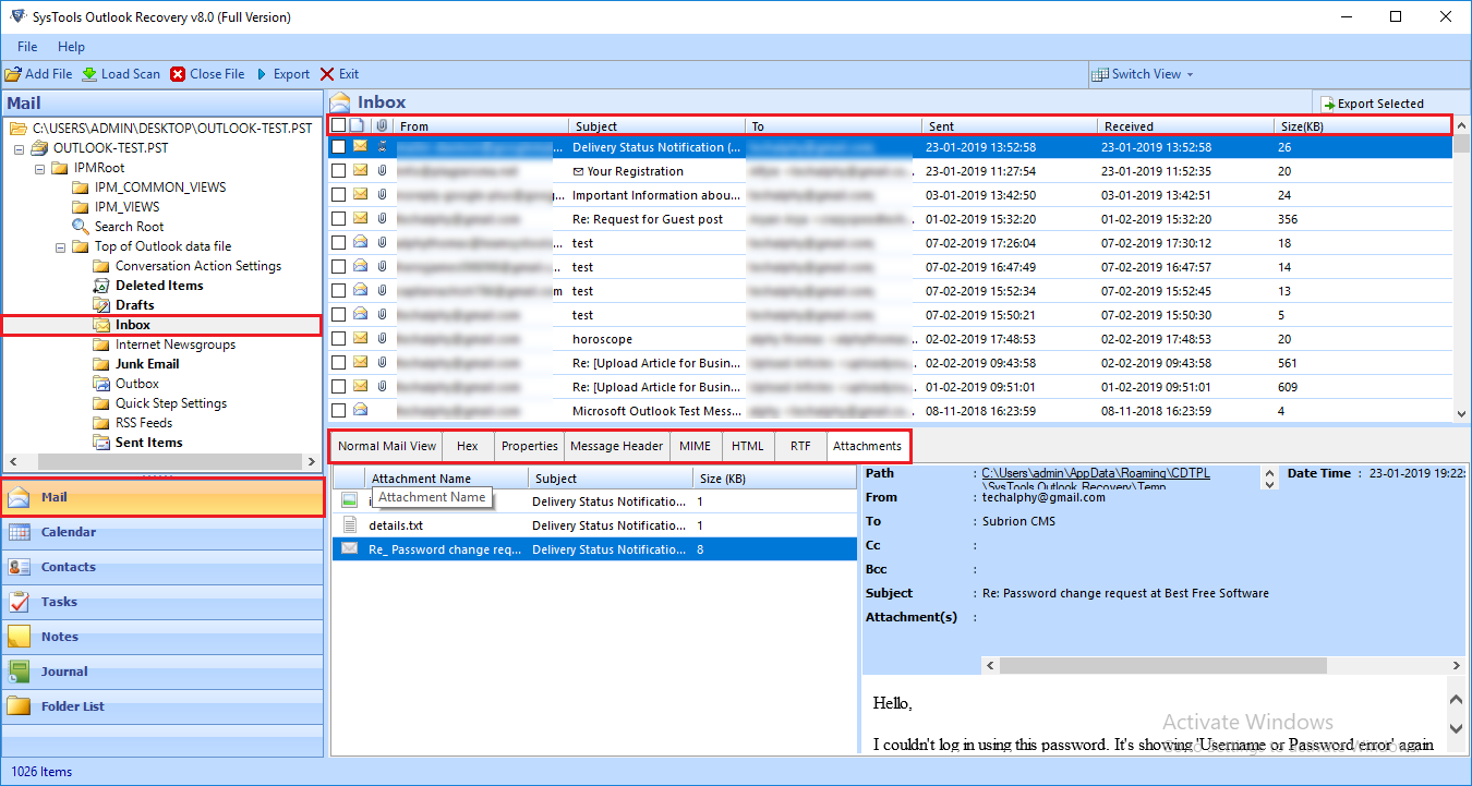 Preview corrupt Outlook data files
