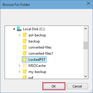 browse Location unlock outlook pst